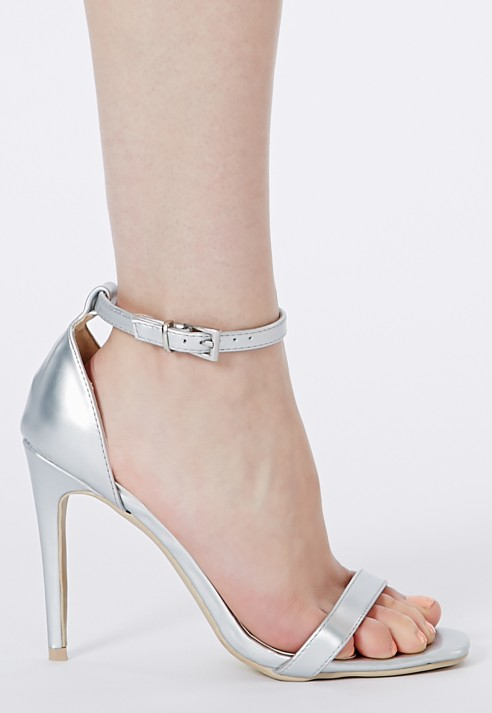 006e1d9c0709 Lyst - Missguided Clara Silver Strappy Heeled Sandals in Metallic