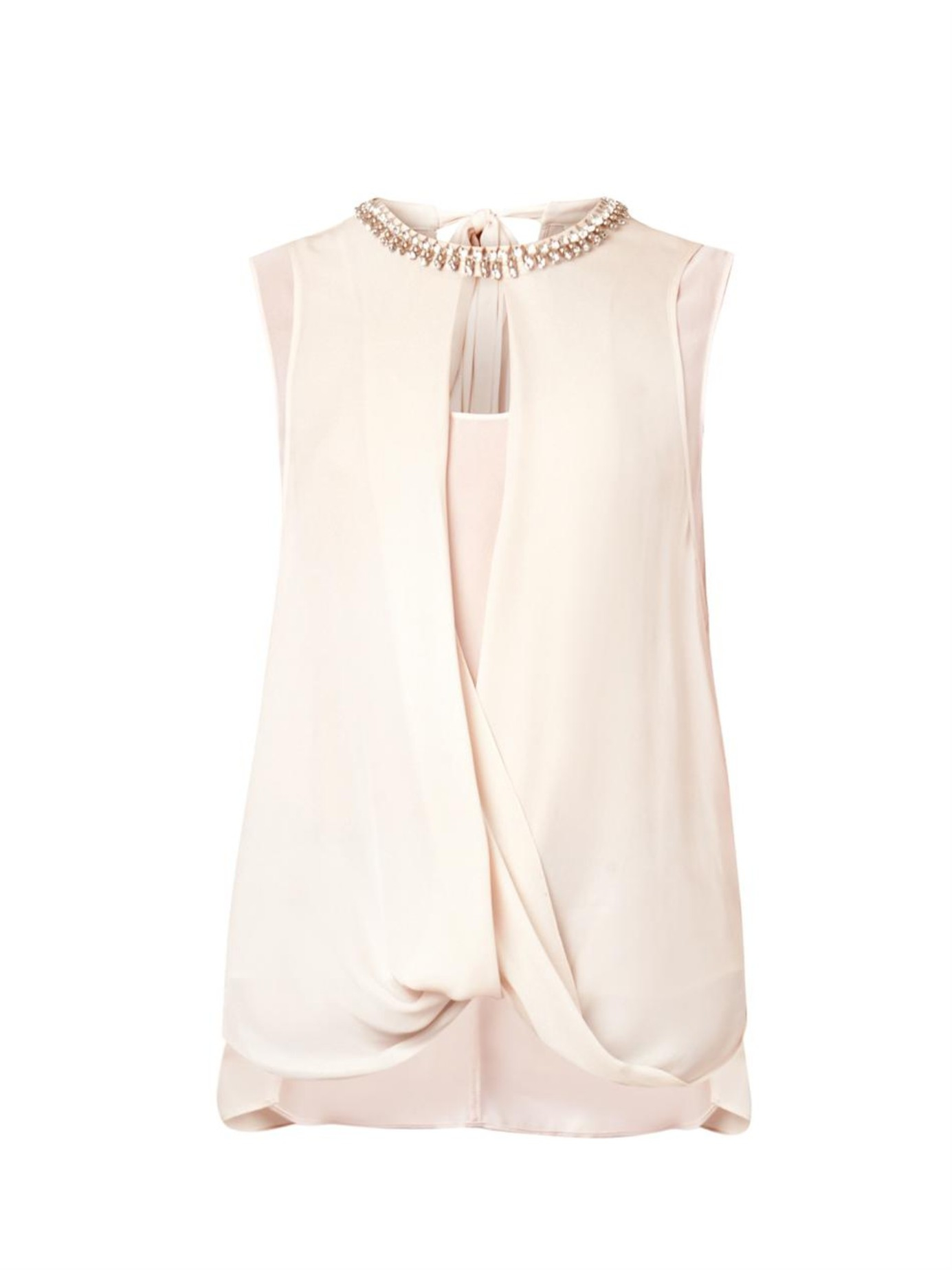 01e9bfb850c34 Rebecca Taylor Embellished Draped Silk Top in Natural - Lyst