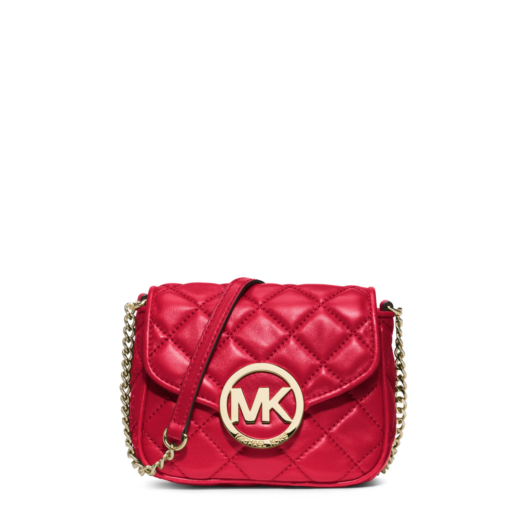 lyst michael kors fulton quilted leather crossbody in red. Black Bedroom Furniture Sets. Home Design Ideas