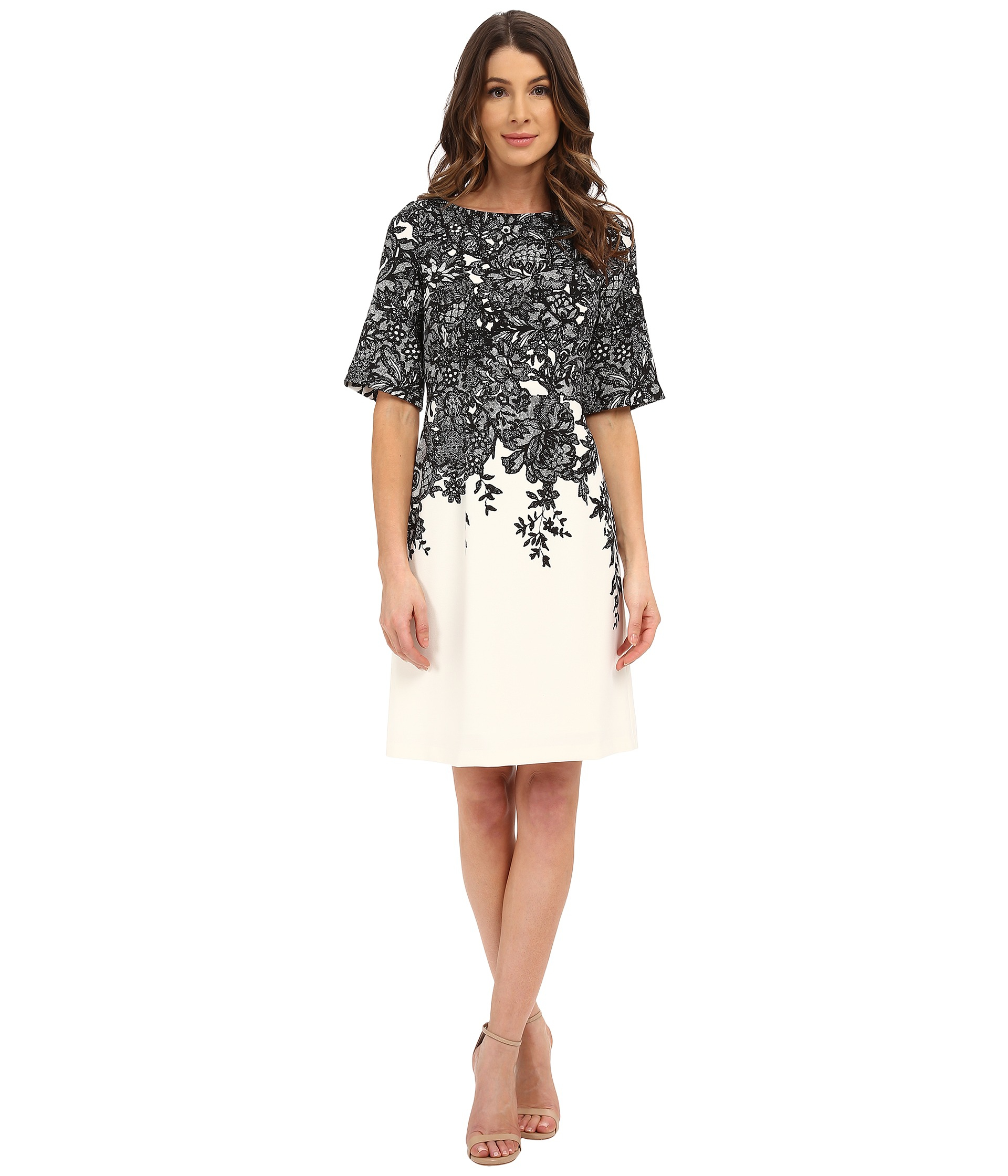 New Adrianna Papell Womens Beaded Elbow Sleeve Gown