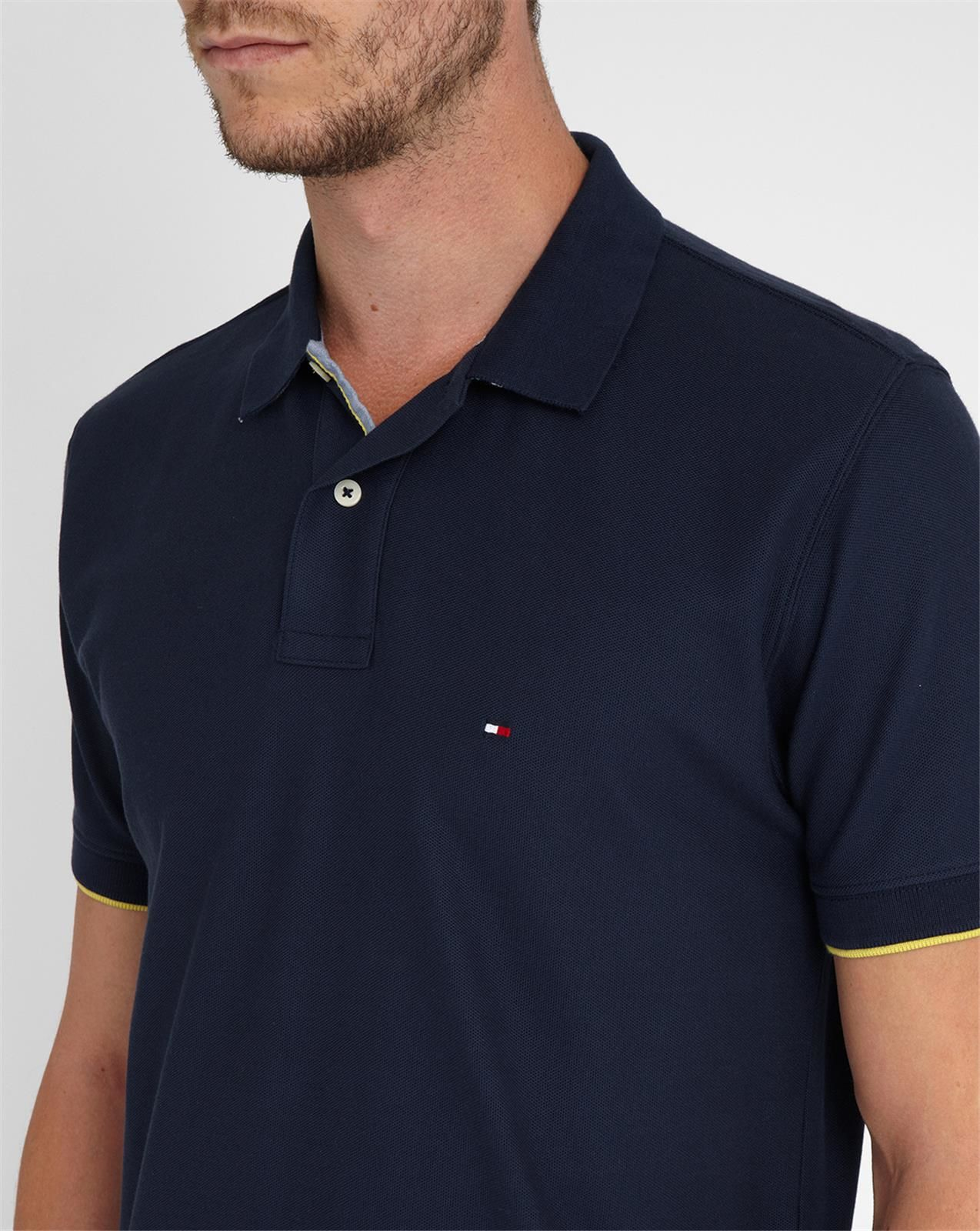 tommy hilfiger navy polo shirt with striped collar revers in blue for men lyst. Black Bedroom Furniture Sets. Home Design Ideas