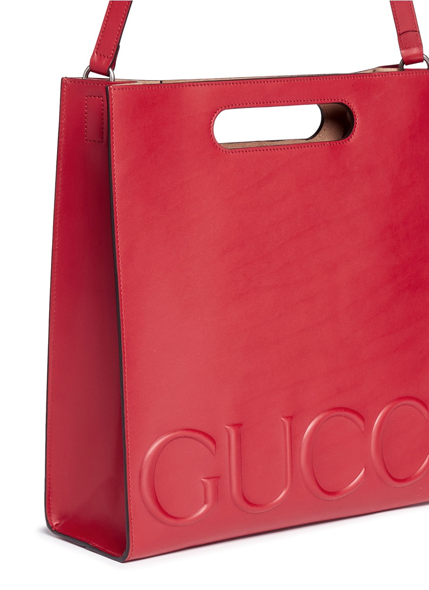 8cfa6958df5a36 Gucci ' Xl' Large Logo Embossed Tote in Pink - Lyst
