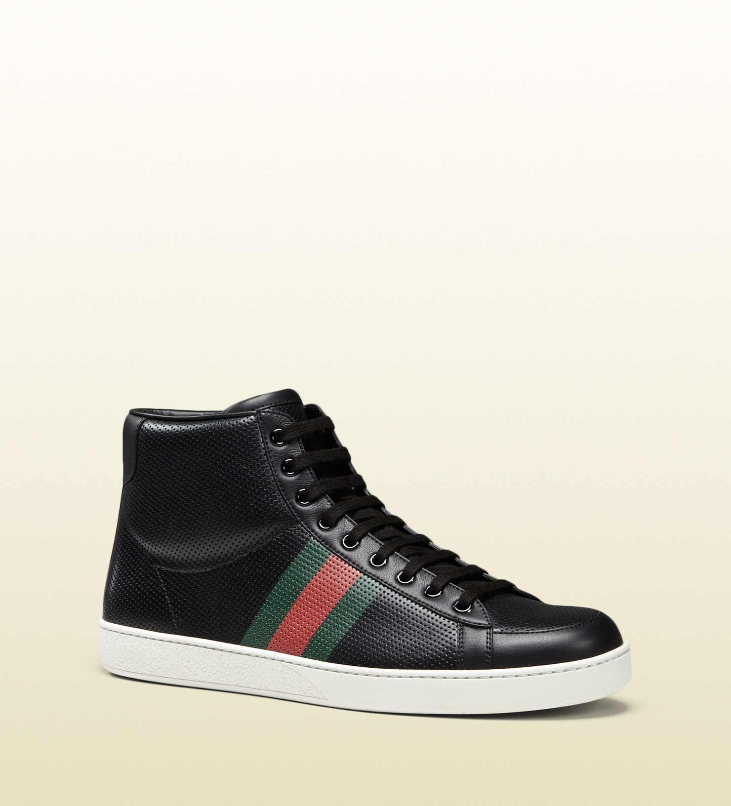 d8aa95609 Gucci Perforated Leather High-top Sneaker in Black for Men - Lyst