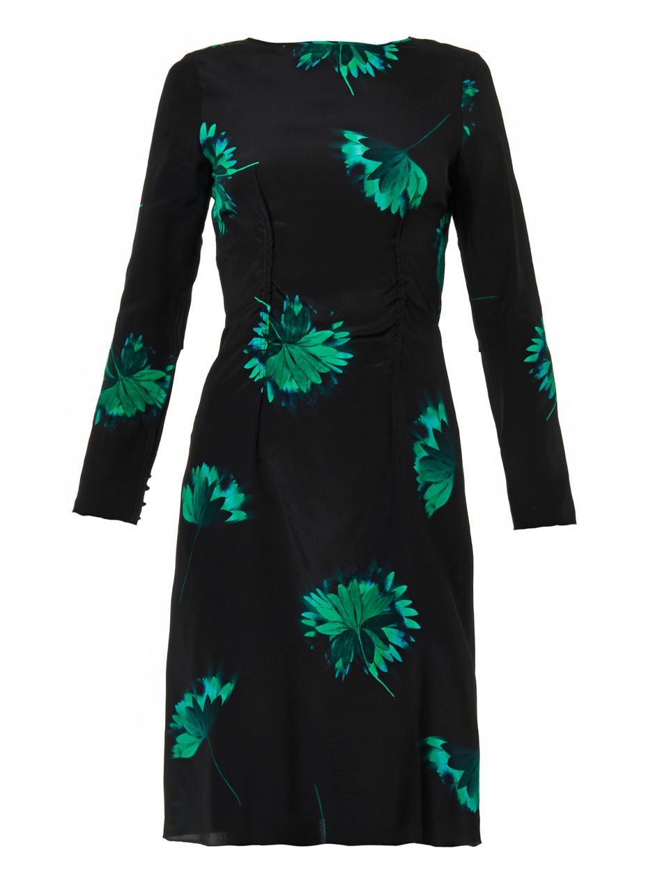 Lyst Nina Ricci Floral Print Silk Dress In Green