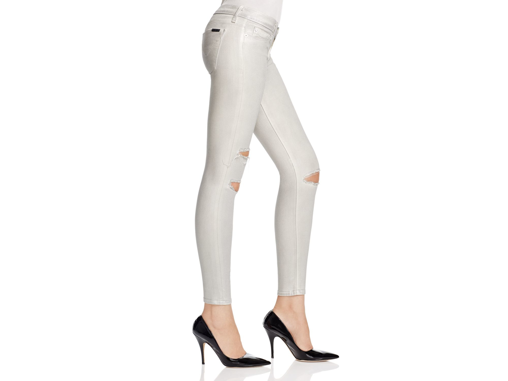 Lyst Hudson Jeans Krista Silver Wax Destructed Jeans In