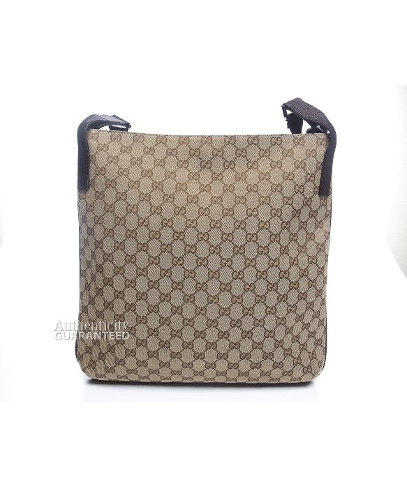 dce85933a13 Gucci Pre-Owned Monogram Canvas Large Crossbody Bag in Brown - Lyst