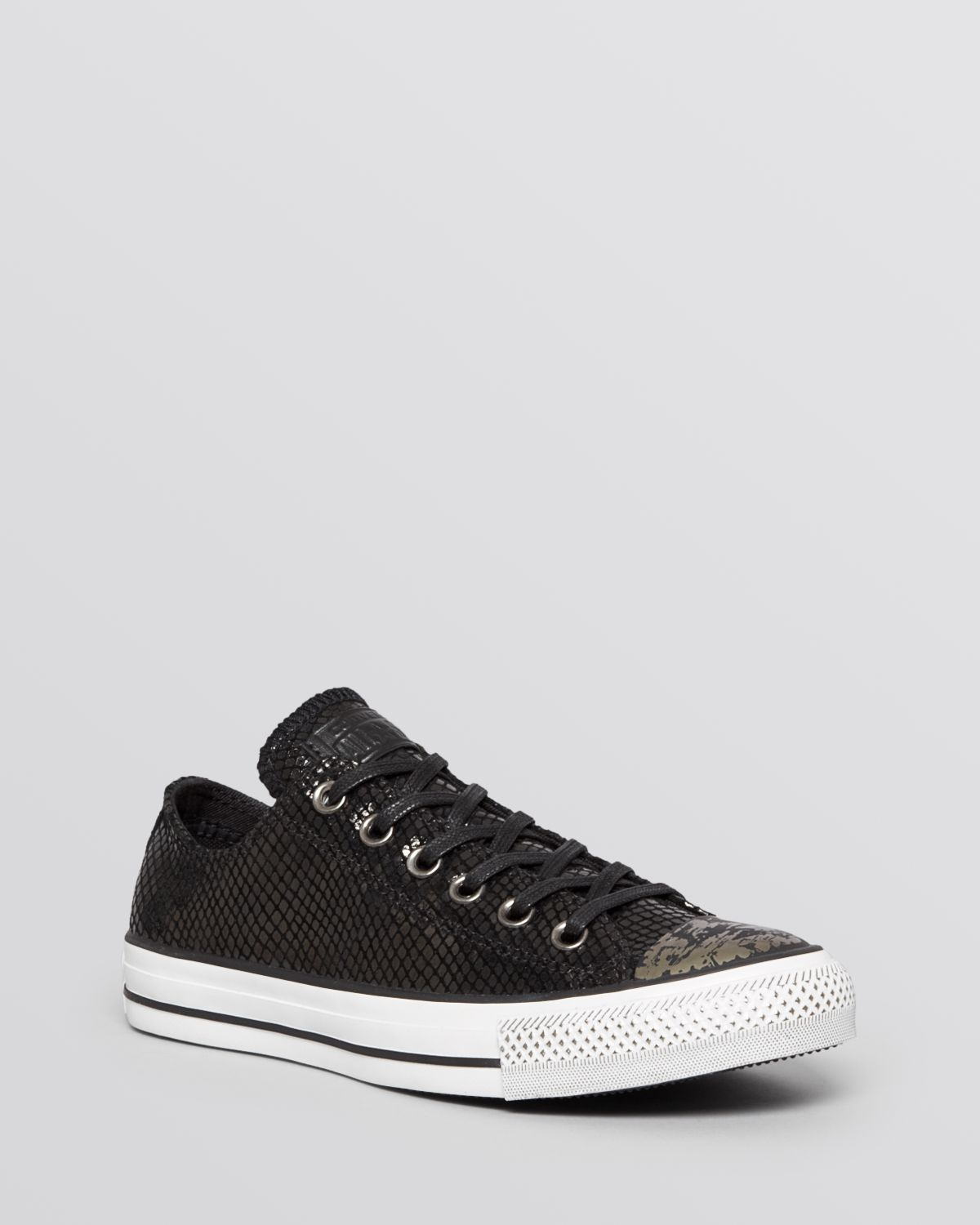 Converse Flat Lace Up Sneakers Low Top Metallic In Black