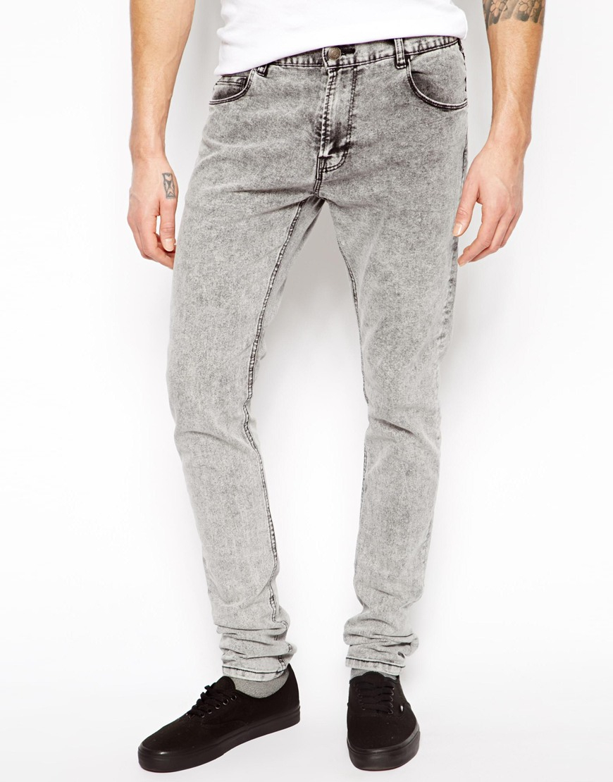 pull bear super skinny jeans in acid wash in gray for men. Black Bedroom Furniture Sets. Home Design Ideas
