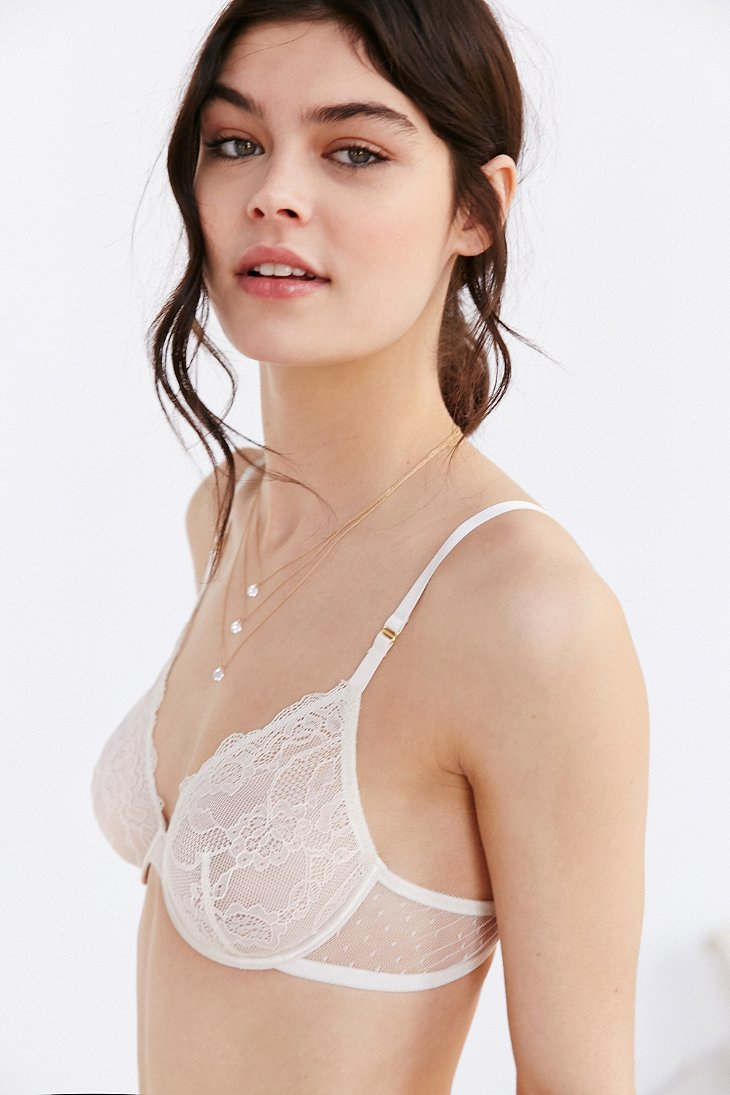 96b96ce34360e Lyst - Out From Under Gigi Basic Lace Underwire Bra in White