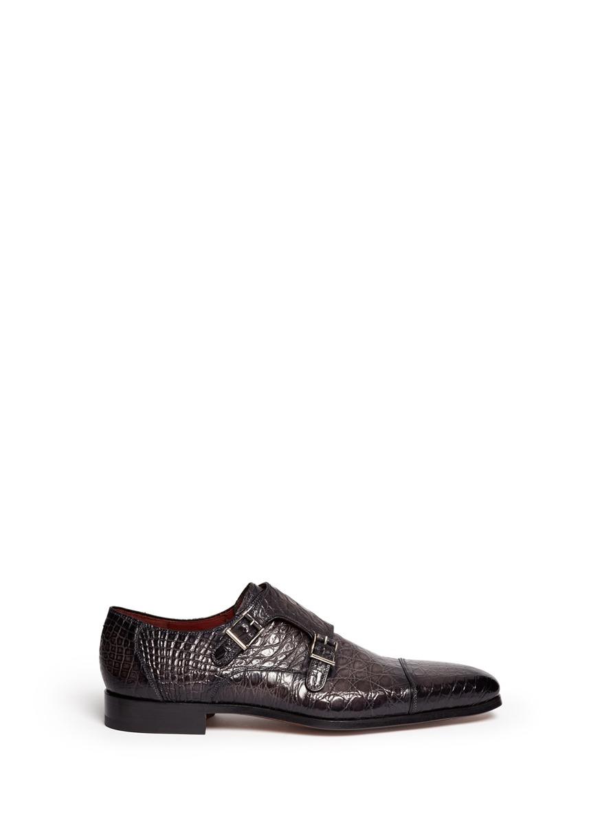 Saks Fifth Avenue Crocodile Leather Cap Toe Monk Strap