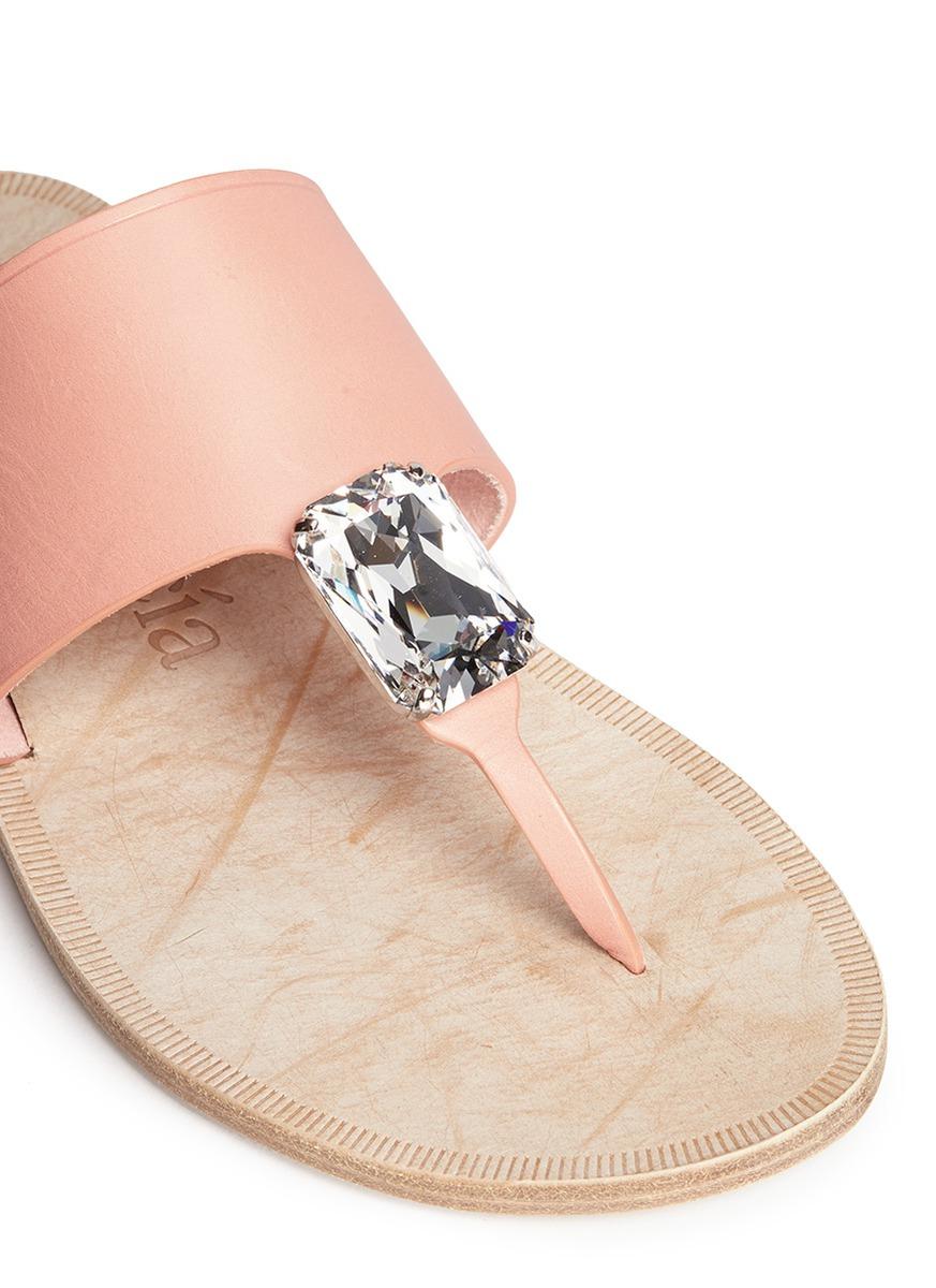 In Garcia Lyst 'ivanka' Pedro Crystal Sandals Pink Swarovski Leather 1PwOxpS