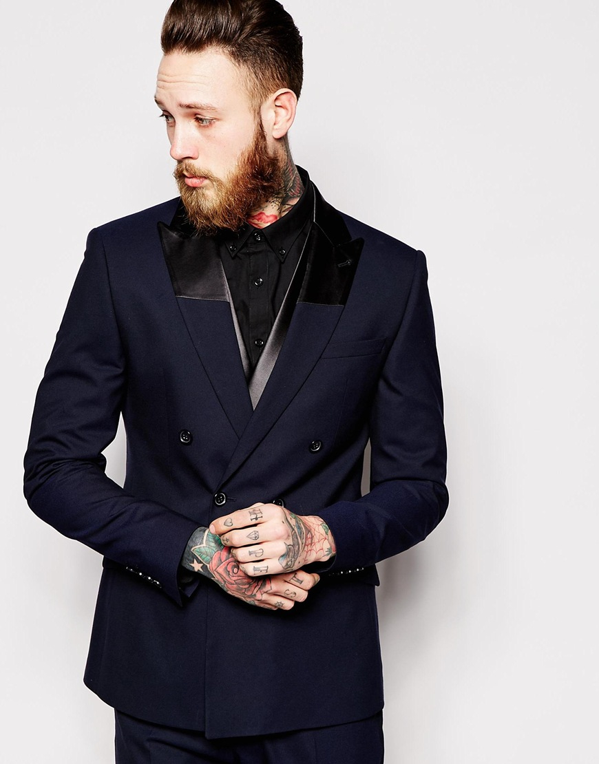 asos slim fit double breasted tuxedo jacket in blue for men lyst. Black Bedroom Furniture Sets. Home Design Ideas