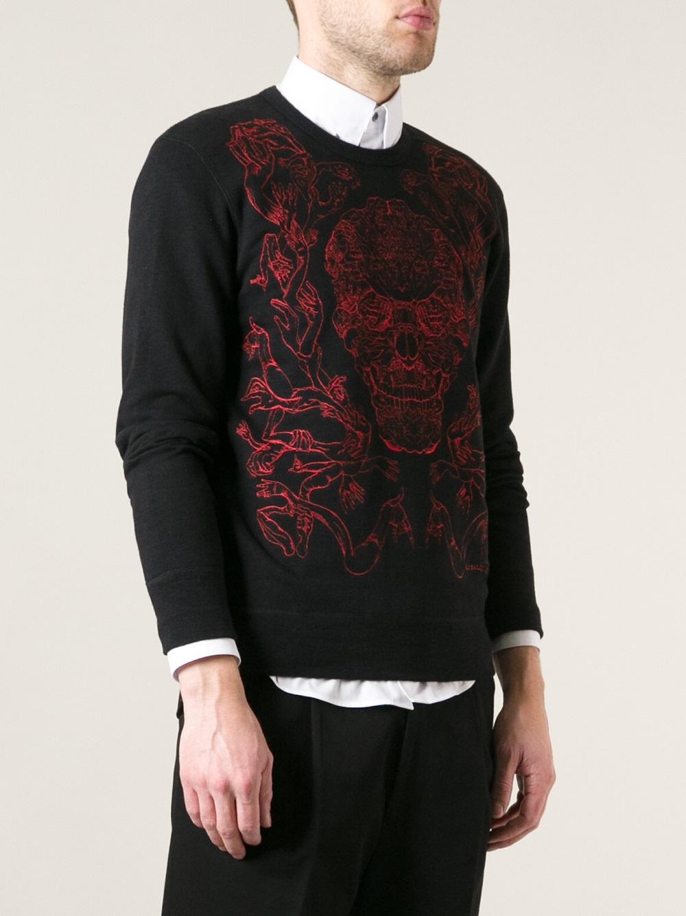 alexander mcqueen skull hands sweatshirt in black for men lyst. Black Bedroom Furniture Sets. Home Design Ideas