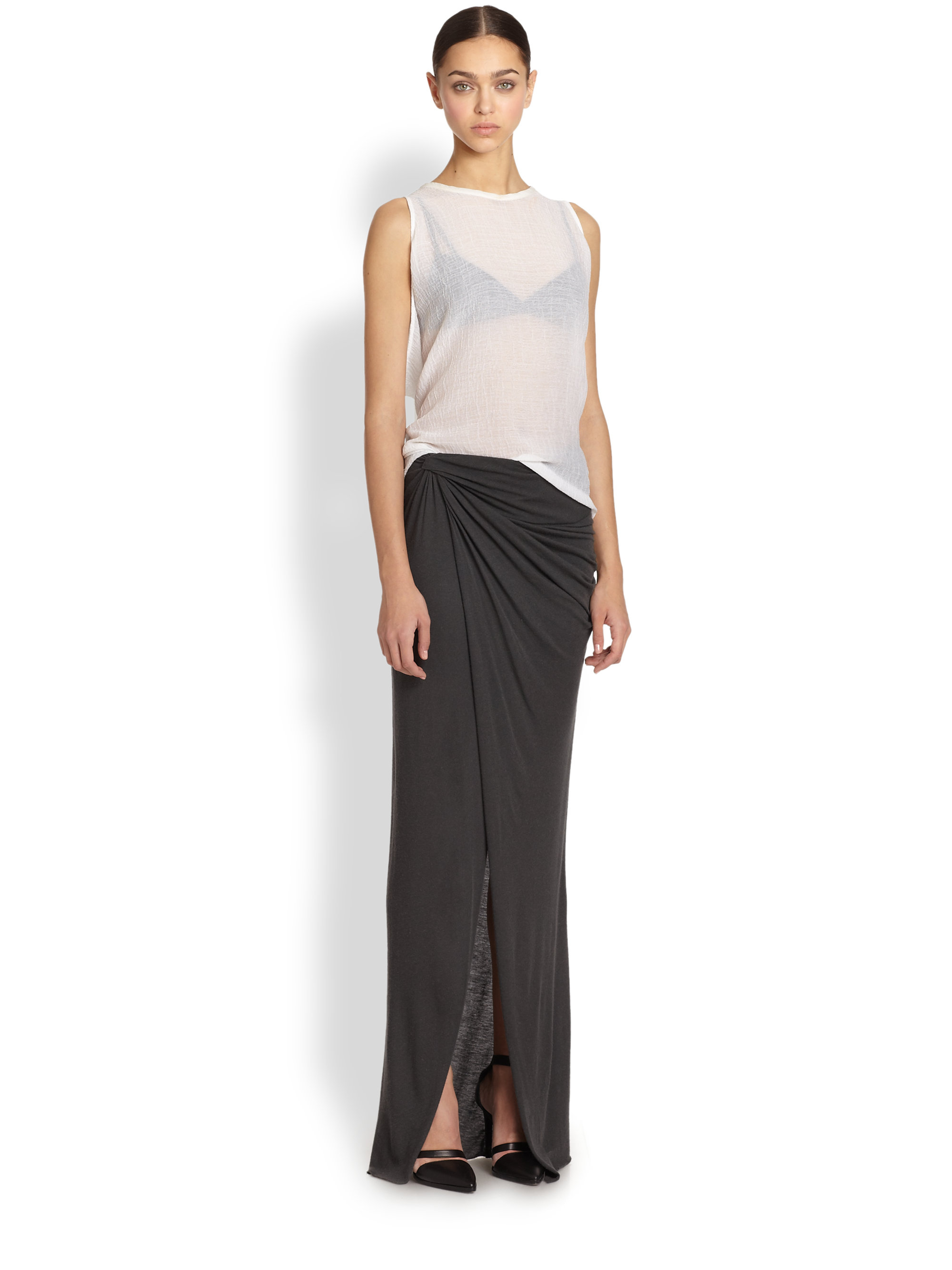 Helmut lang Lush Asymmetrical Draped Twisted Maxi Skirt in Gray | Lyst