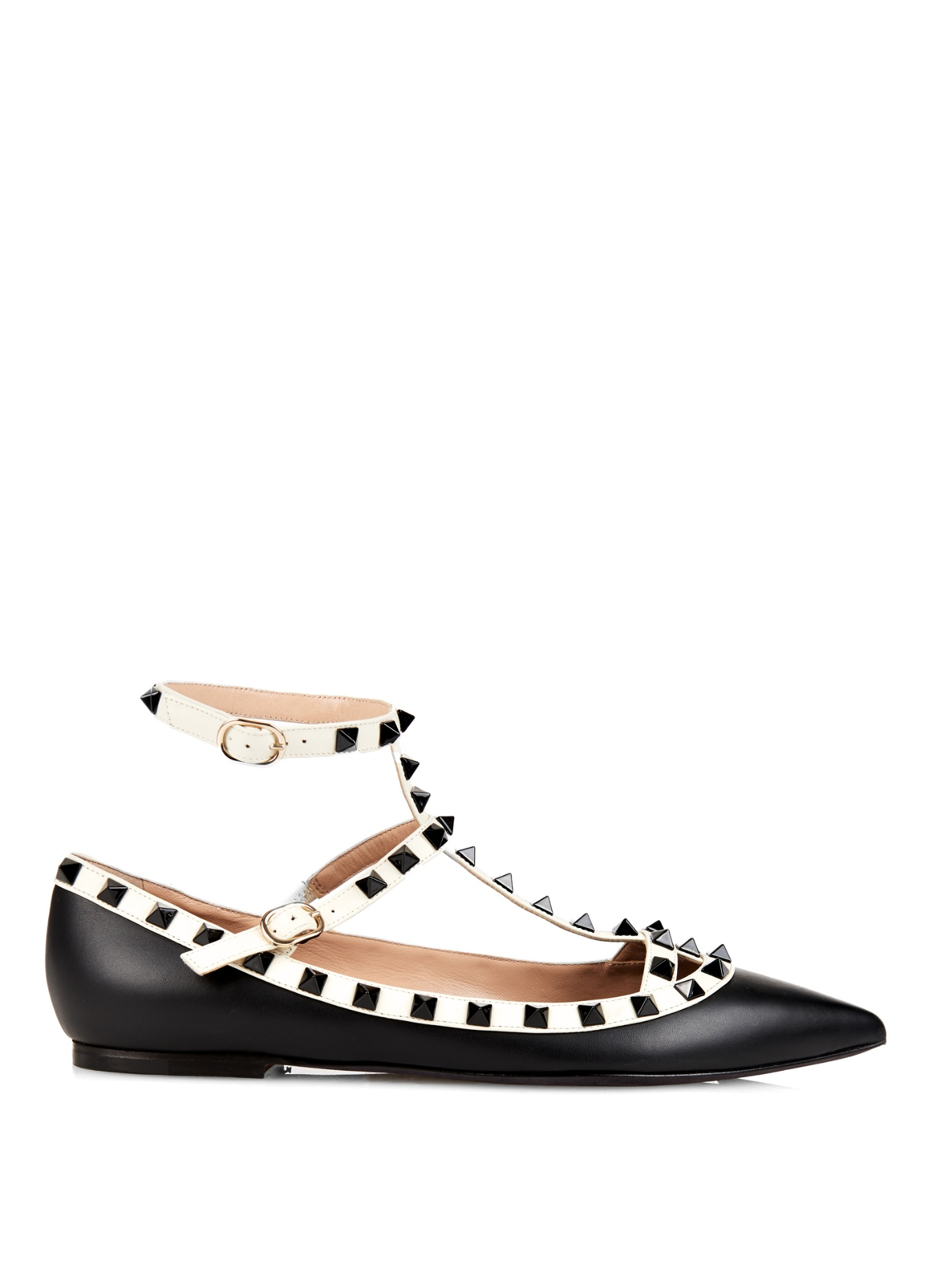 3f34c40cde31 Valentino Rockstud Pointed-Toe Leather Flats in Black - Lyst
