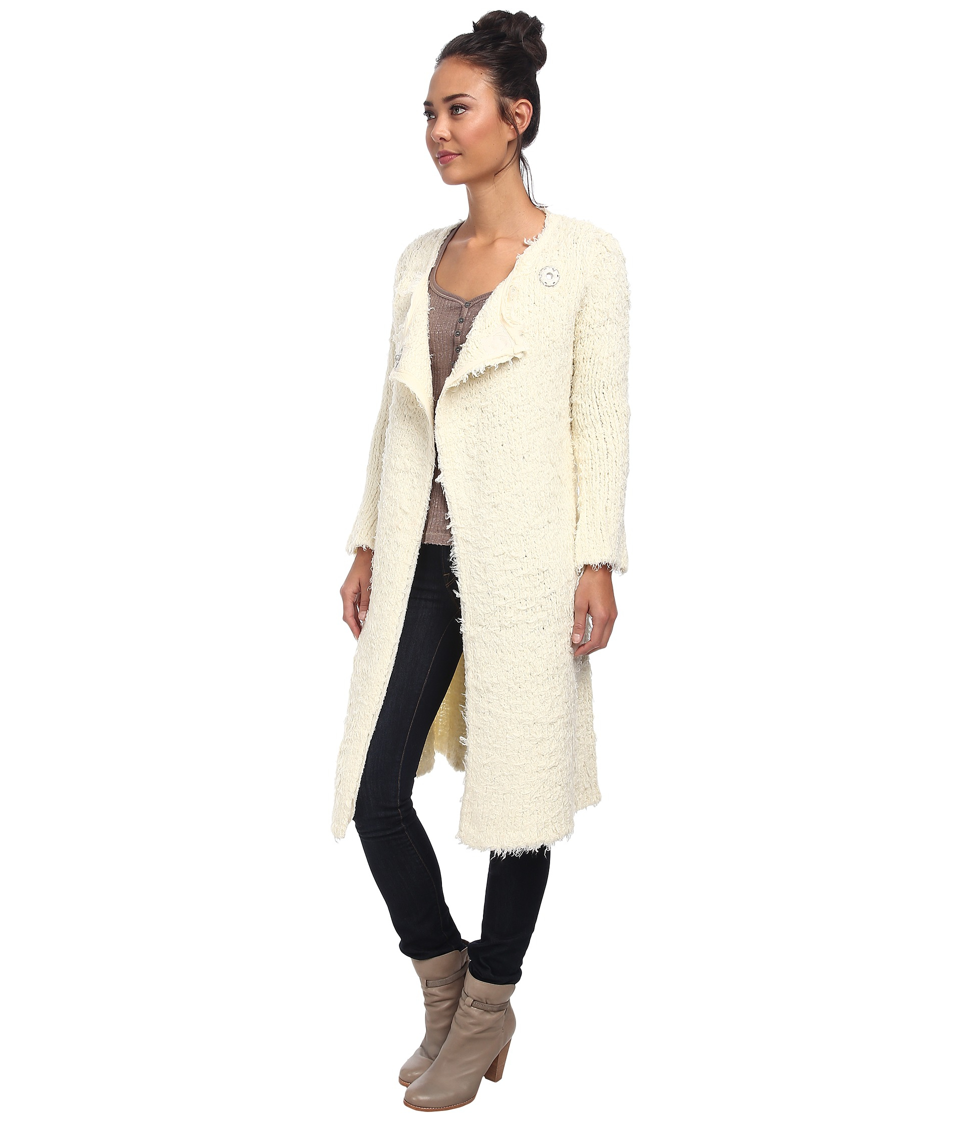 Free people Jagger Maxi Sweater Coat in Natural | Lyst
