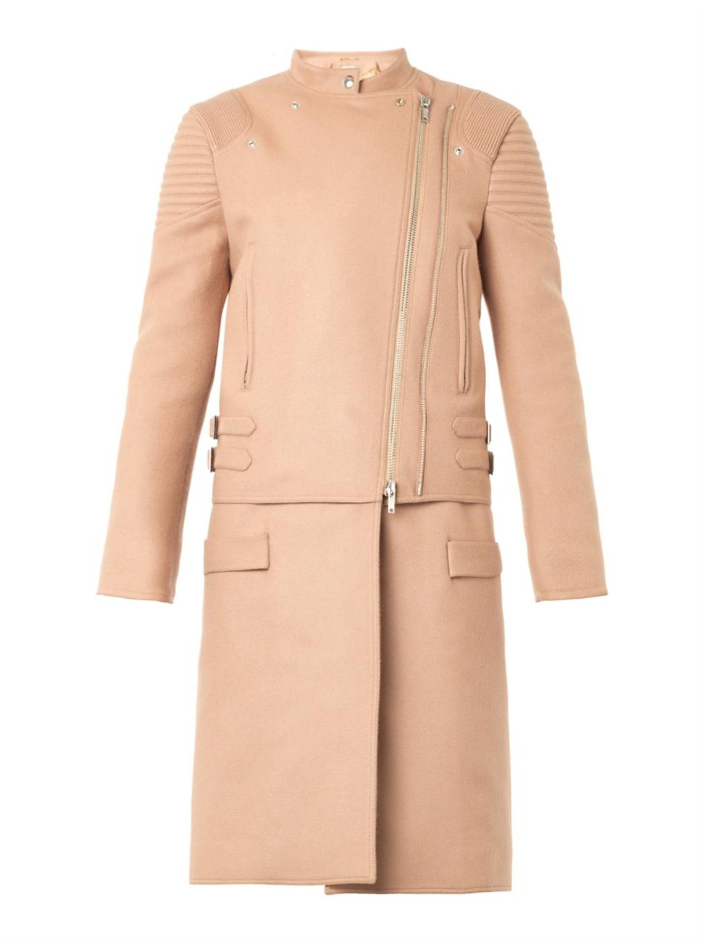 Givenchy Felted-Wool Biker Coat in Natural | Lyst