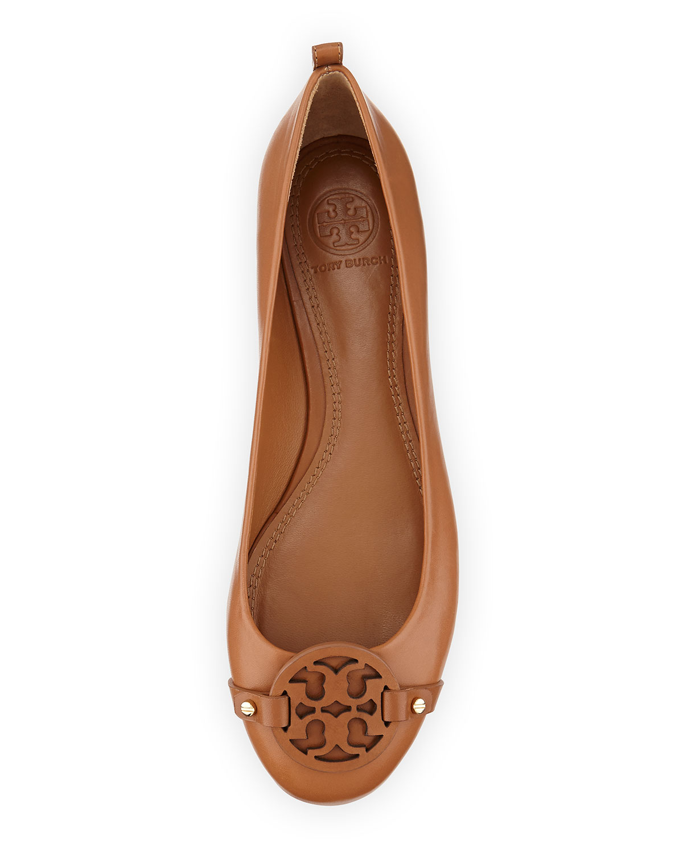 eca52e06649 ... ballet logo leather black gold flats. 1234567891011 5348e fbf95  promo  code lyst tory burch mini miller leather logo flat in brown bb309 13a1a