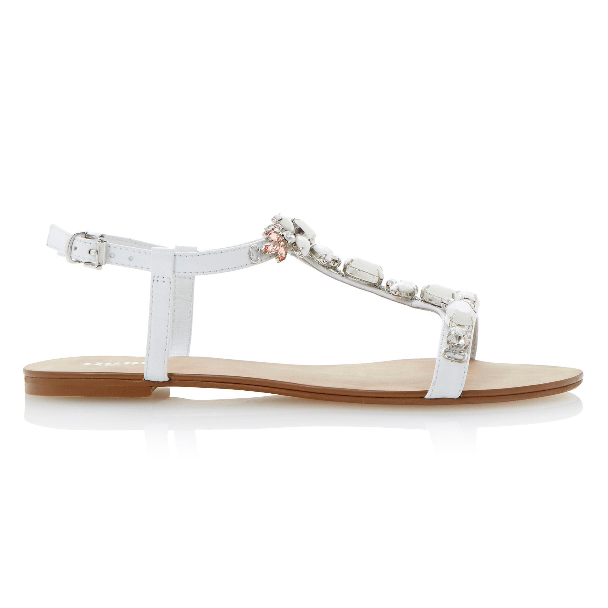 Dune Khloe T-Bar Embellished Leather Strappy Flat Sandals -5437