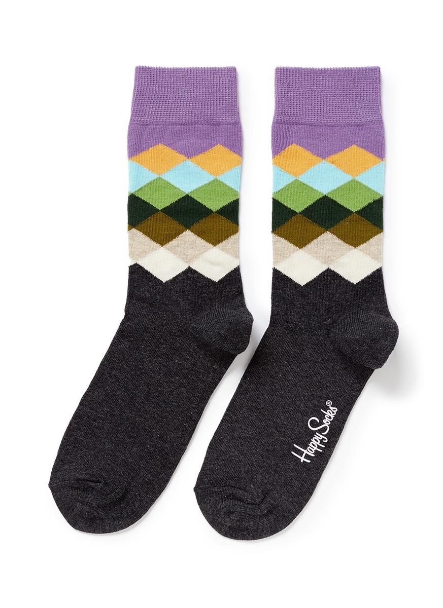 Happy socks Faded Diamond Socks in Purple (Multi-colour,Grey) | Lyst