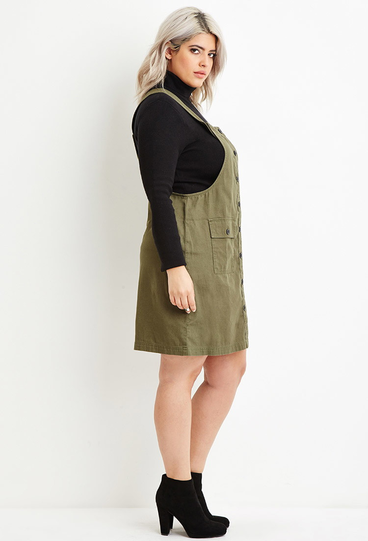 Forever 21 Plus Size Cargo Overall Dress in Green - Lyst