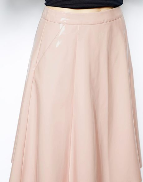 asos midi skirt in patent leather look in pink lyst
