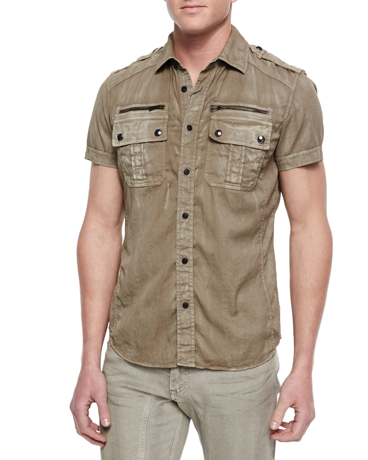belstaff franklin short sleeve two pocket shirt in natural