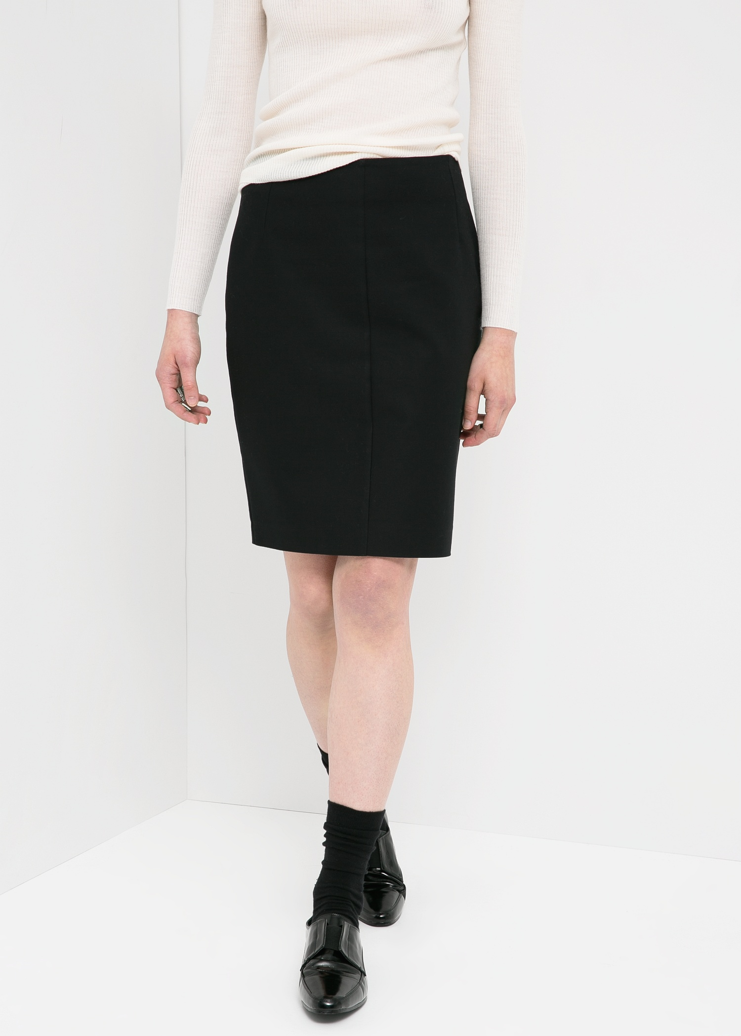 Mango Cotton Pencil Skirt in Black | Lyst