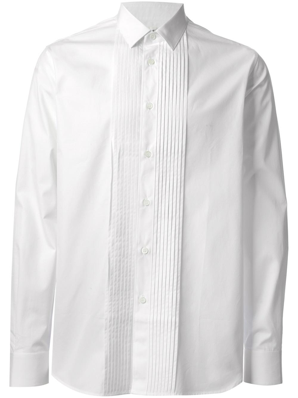 6ab422e808ba76 Lyst - Saint Laurent Pleated Shirt in White for Men