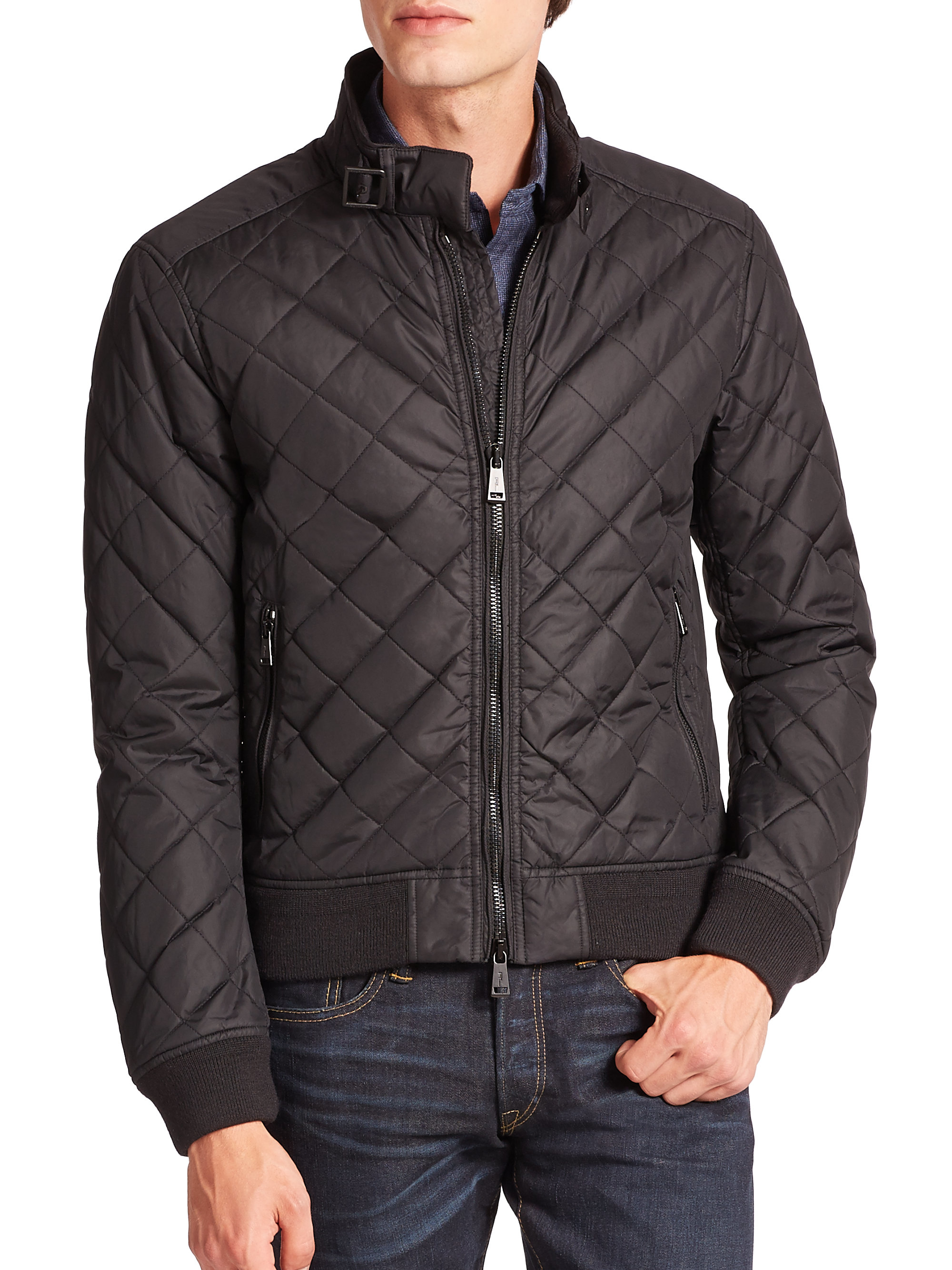 Lyst - Polo ralph lauren Quilted Moto Bomber Jacket in Black for Men : polo ralph lauren quilted - Adamdwight.com