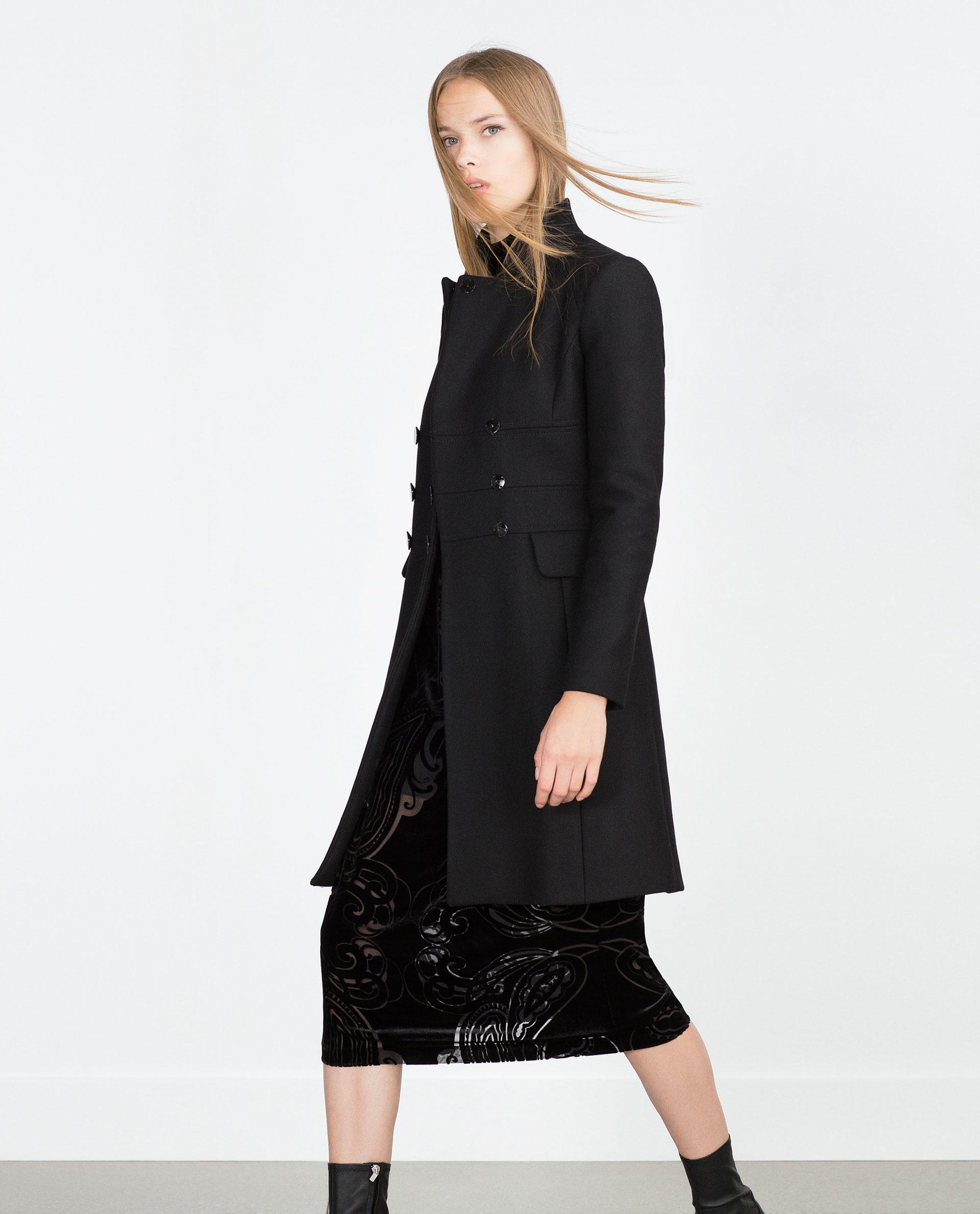 Zara Tailored Coat in Black | Lyst