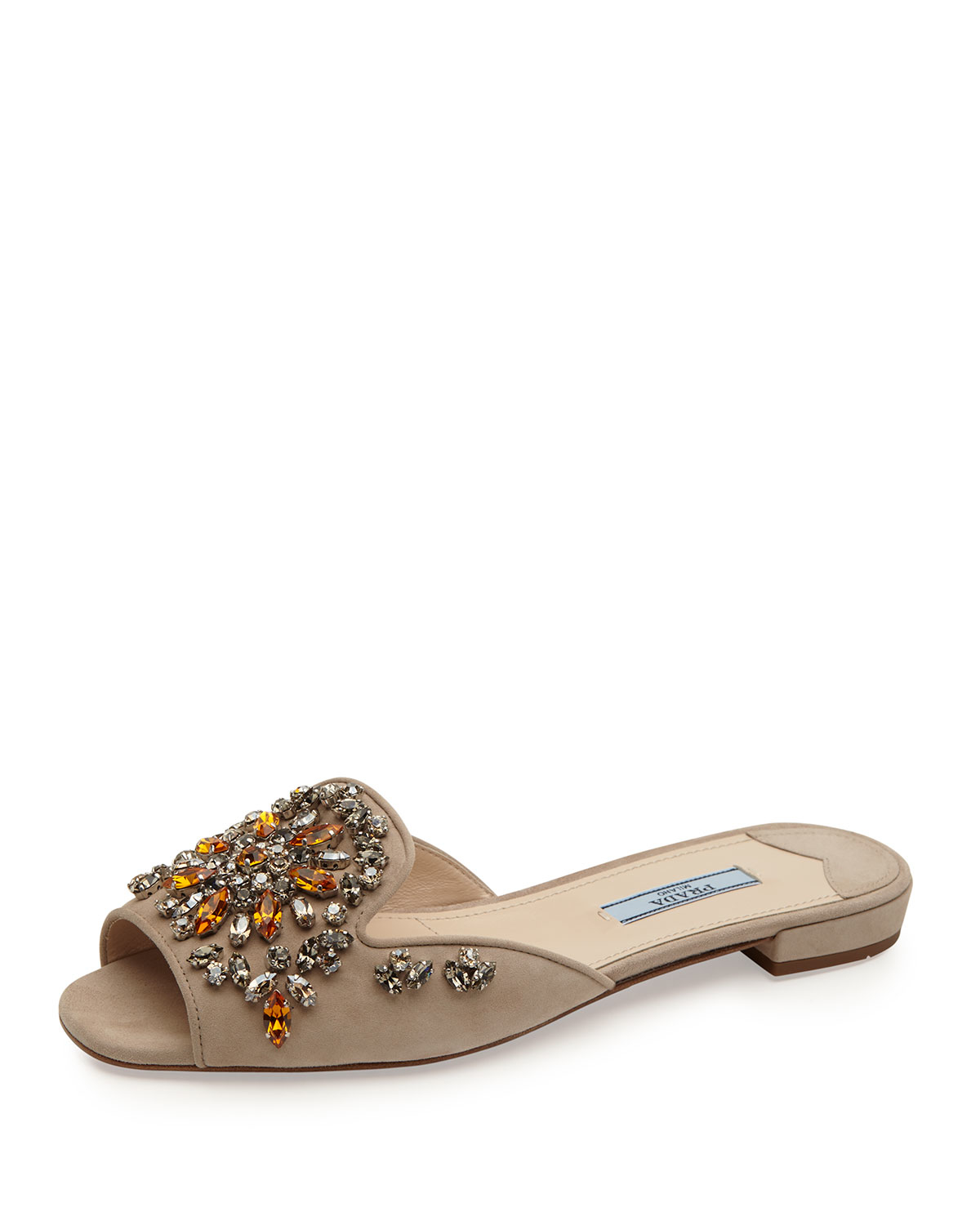 crystal studded flat slides - Blue Prada
