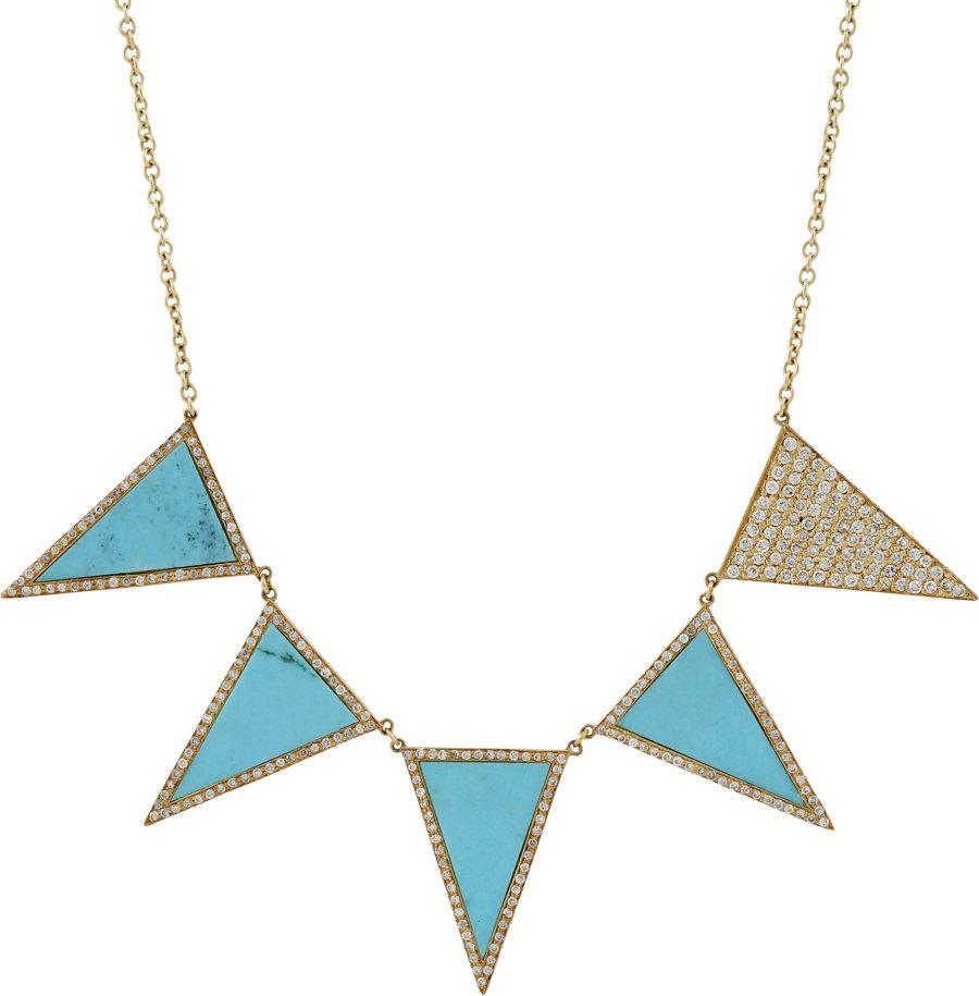 Jennifer Meyer Diamond Turquoise Triangle Pendant Necklace