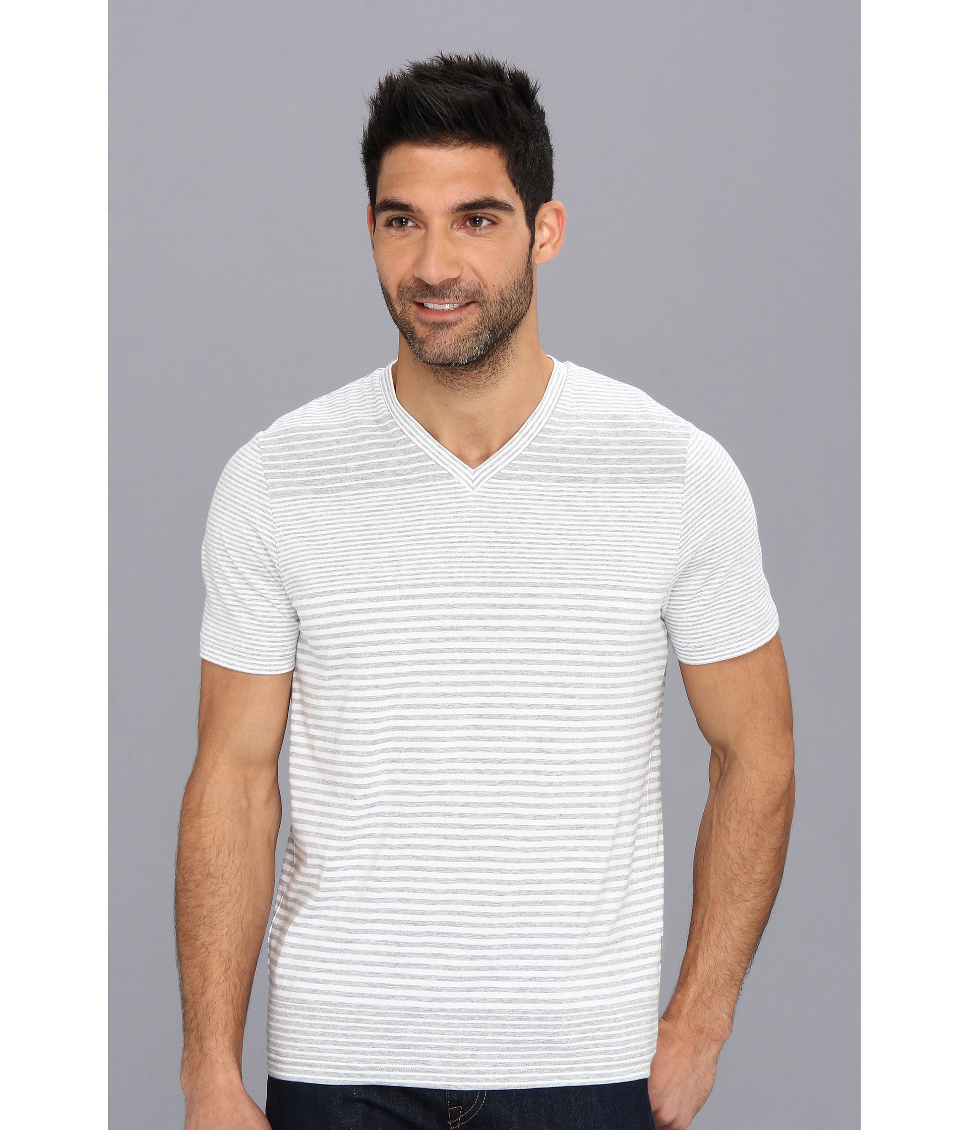 8086214b0a Lyst - Perry Ellis Ss Pima Cotton Stripe Vneck Tee in White for Men