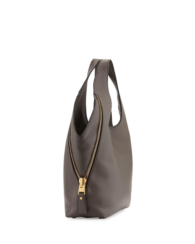Lyst - Tom Ford Jennifer Side-zip Leather Hobo Bag in Gray 7100d763d54bc