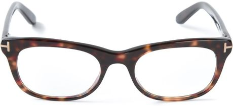 Large Rectangular Glasses Frame : Tom Ford Rectangular Frame Glasses in Brown for Men Lyst