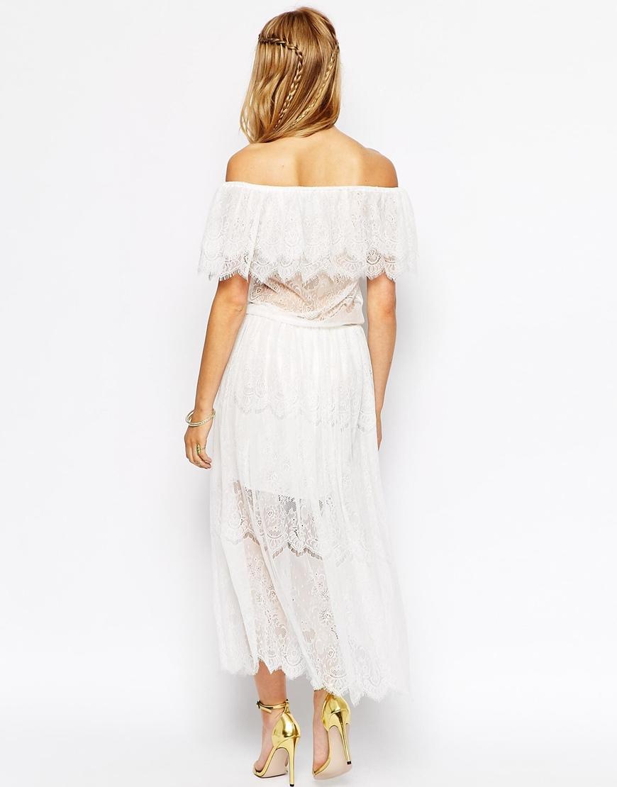 Darccy Vintage Boho Lace Off Shoulder Maxi Dress In White