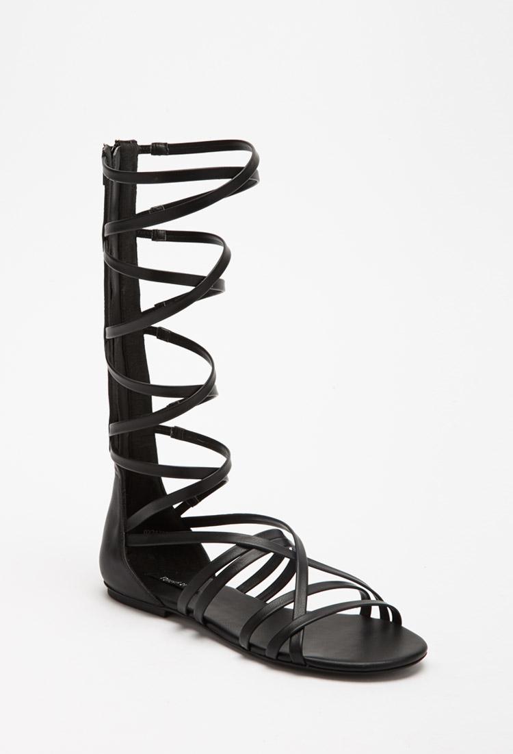 83e6e1709664 Forever 21 Strappy Mid-calf Gladiator Sandals in Black - Lyst