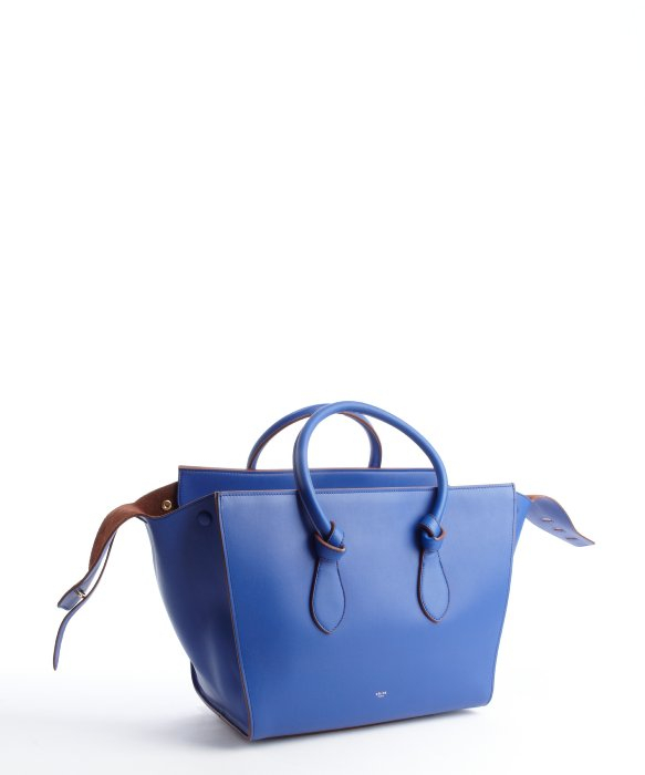 C¨¦line Indigo Leather Knot Bag with Matching Pouchette in Blue ...