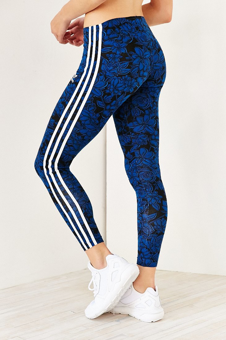 adidas originals blue floral legging in blue