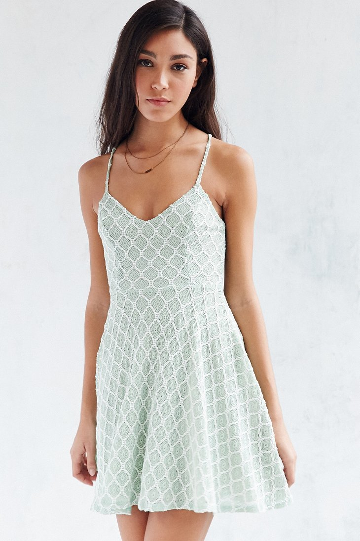 66d6d7872f Lyst - Kimchi Blue Diamond Lace Skater Dress in Green