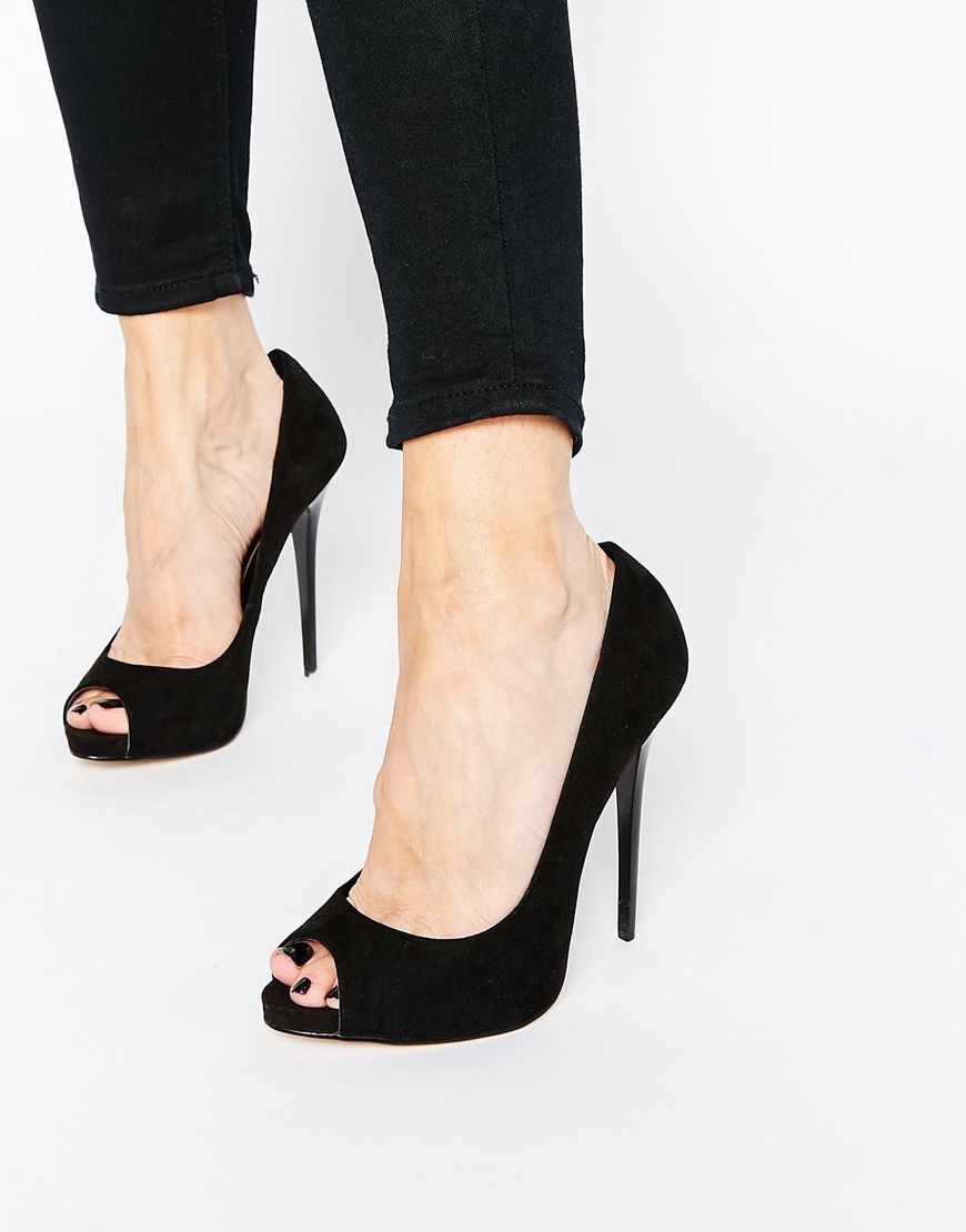 b4a9ce13605 Lyst - ASOS Penzance High Heels With Peep Toe in Black