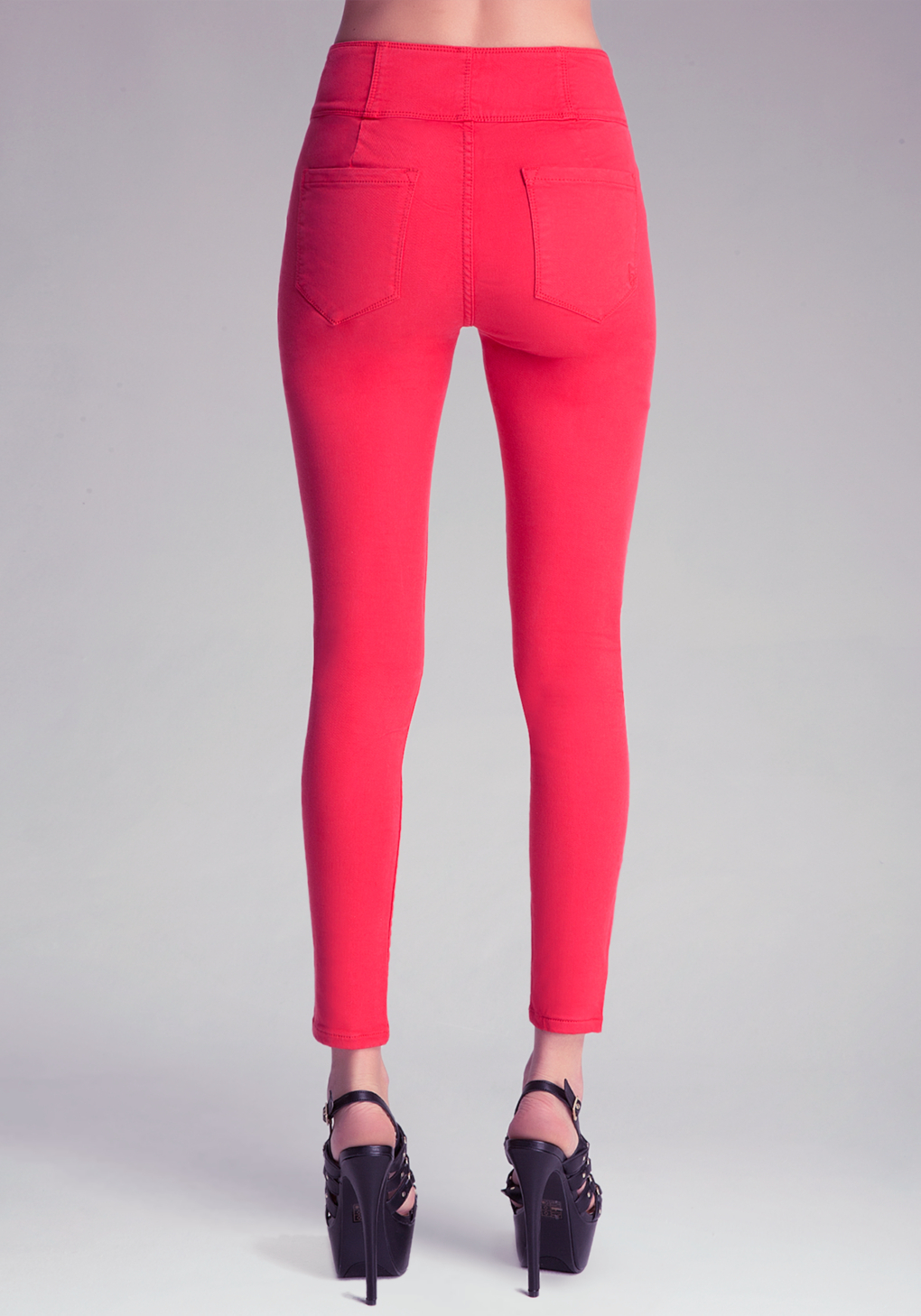 Bebe High Waist Skinny Jeans in Red | Lyst