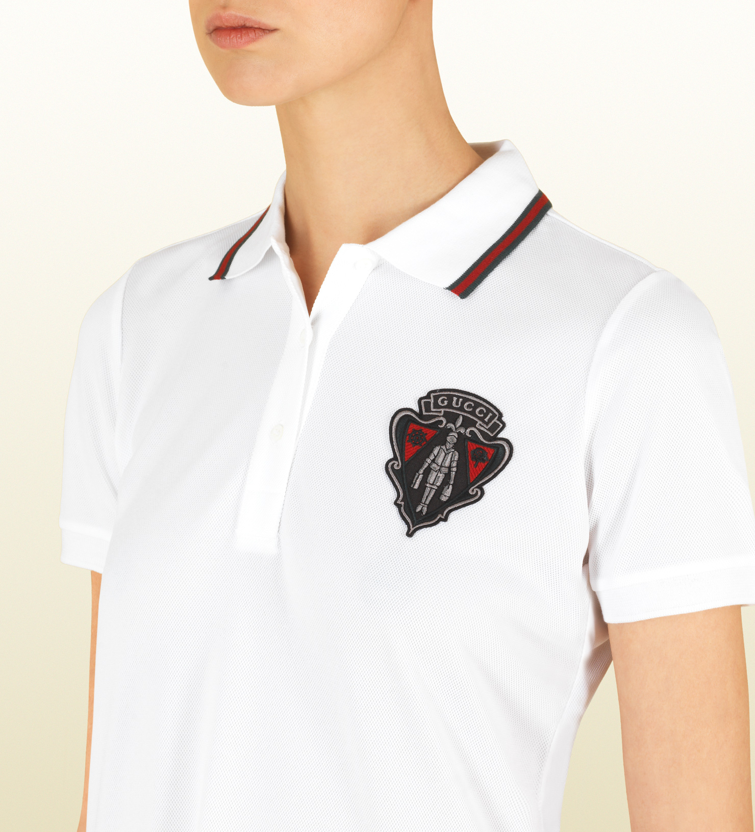 1f0c5749d Gucci White Short Sleeve Polo With Crest From Equestrian Collection ...