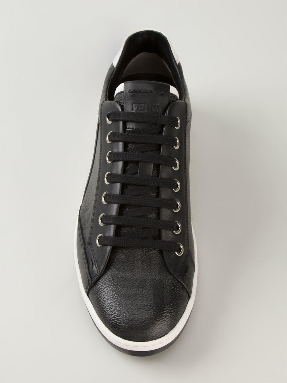 fendi wimbledon leather sneakers in black for men lyst