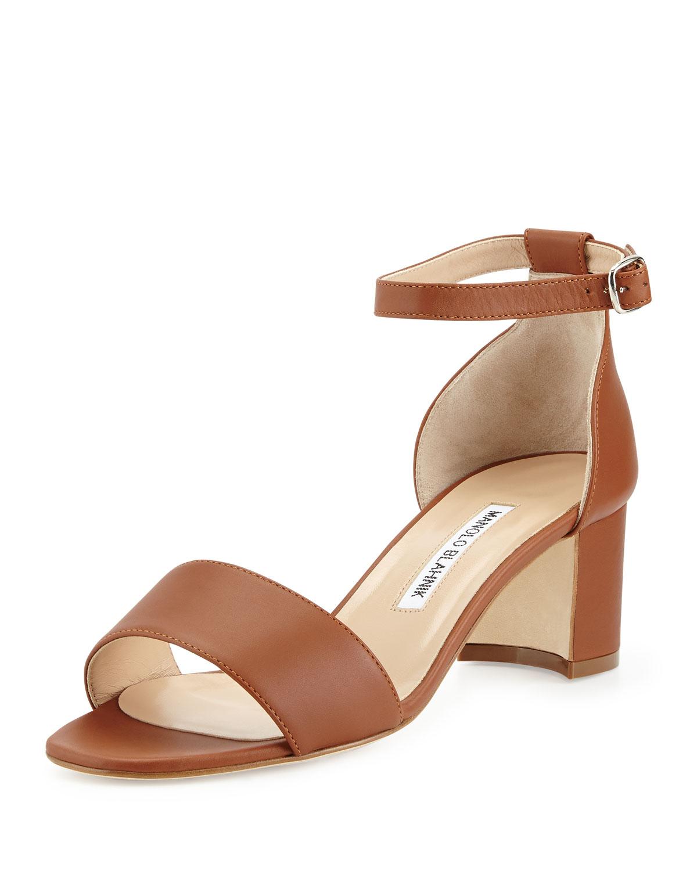 5941b7ab8768 Lyst - Manolo Blahnik Lauratomod Block-heel Ankle-strap Sandal in Brown