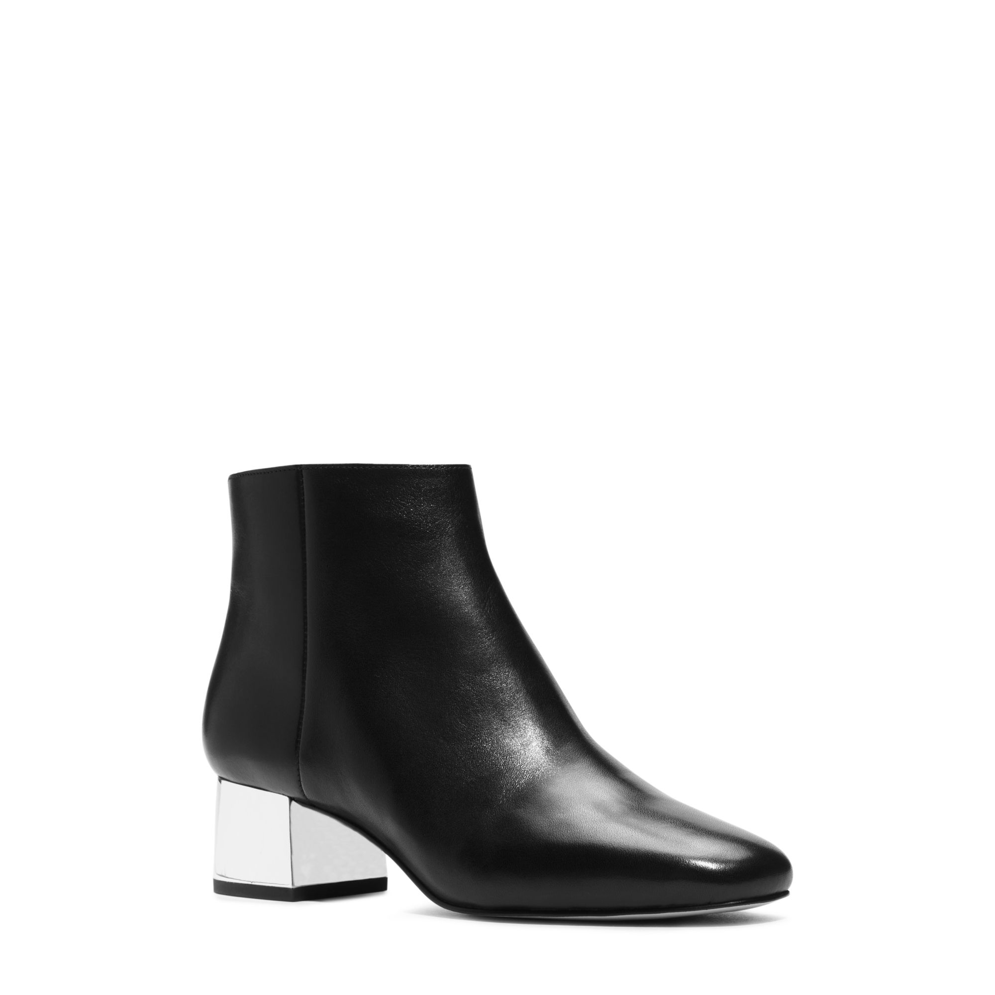 lyst michael kors lucy leather ankle boot in black. Black Bedroom Furniture Sets. Home Design Ideas