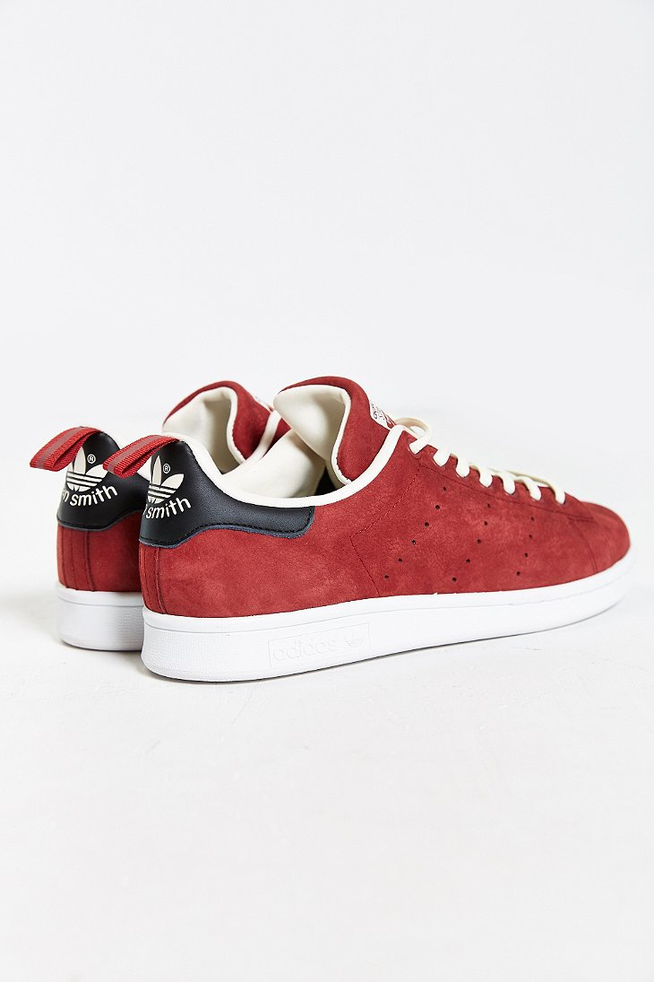 lyst adidas originals stan smith nubuck sneaker in red for men. Black Bedroom Furniture Sets. Home Design Ideas