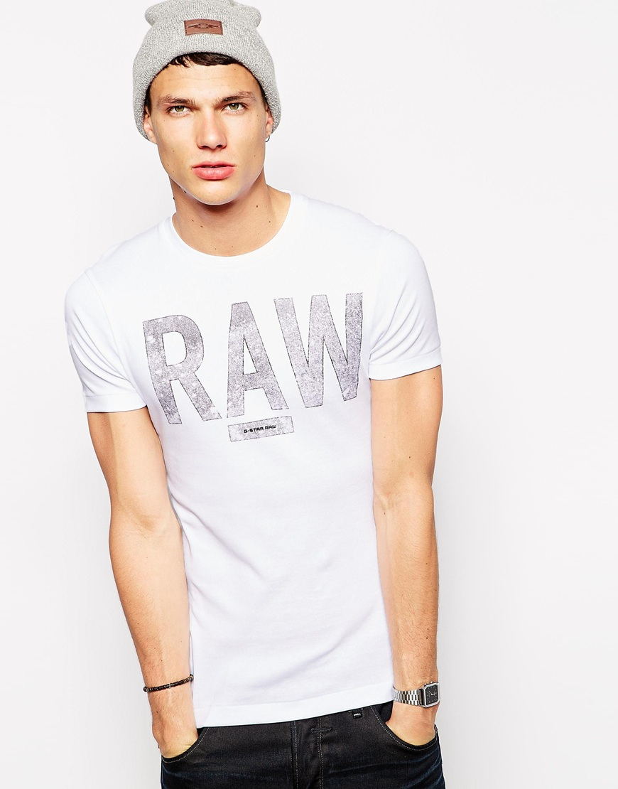 star raw g star t shirt terrams rib raw logo in white for men lyst. Black Bedroom Furniture Sets. Home Design Ideas