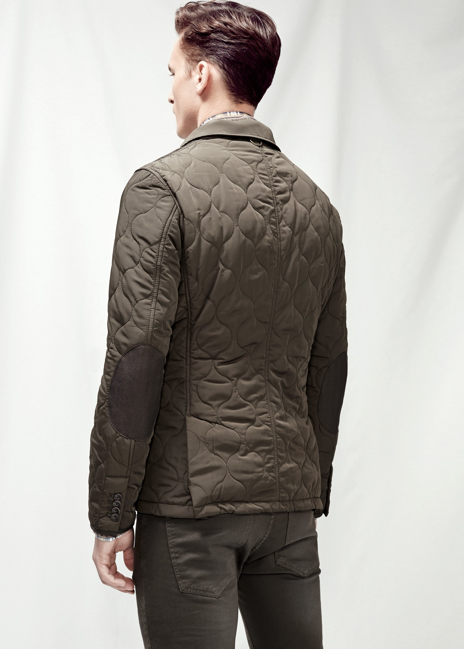 13809eac5007 Lyst - Mango Elbow-Patch Quilted Jacket in Natural for Men